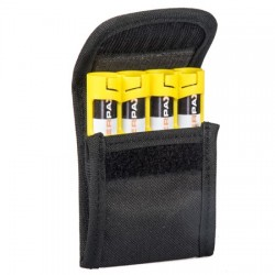 Storacell Powerpax Pouch view of open pouch showing Velcro closure and  containing a Storacell Slimline AA battery caddy
