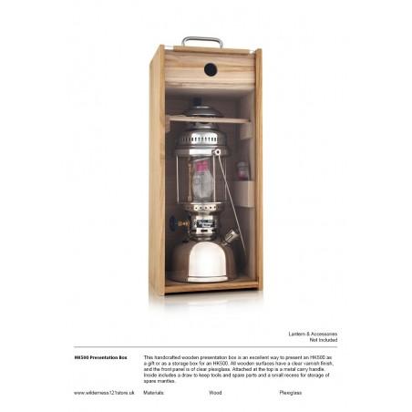 Wooden display/storage box for Petromax HK500 Lantern fact sheet