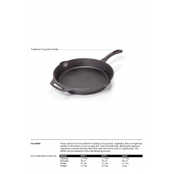 Petromax Cast Iron Skillet FP with traditional frying pan handle fact sheet