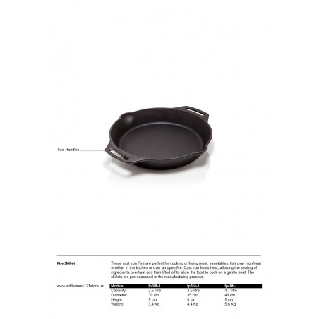 Petromax Cast Iron Skillet FP with two handles fact sheet
