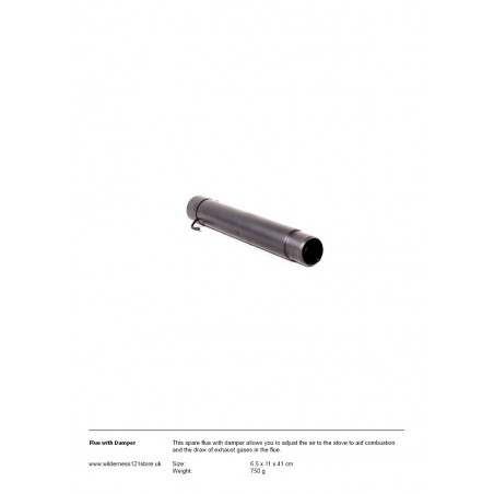 Flue with damper for Loki Stove (spare part)