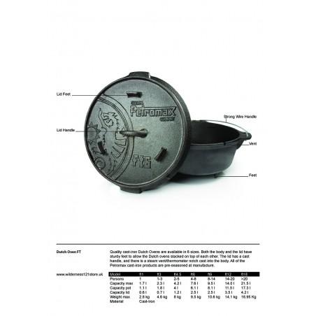 Petromax Dutch Ovens FT3, FT6, FT9, FT12 & FT18 fact sheet
