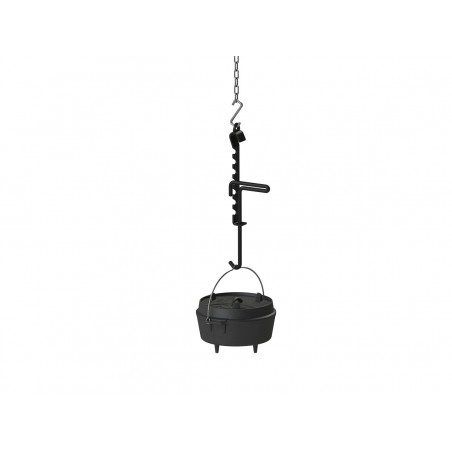 Trammel Hook in use with Dutch Oven hanging from Tripod chain