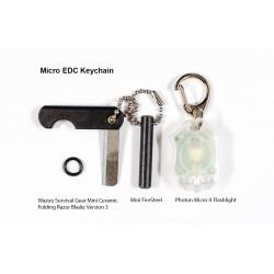 Micro EDC Keychain Mini Ceramic Folding Razor Blade, Mini FireSteel & Photon Micro-X Flashlight