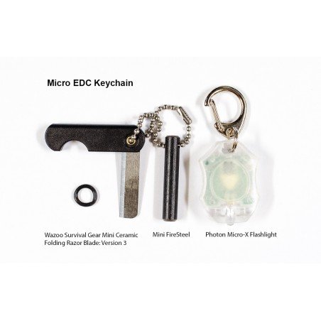 Micro EDC Keychain Mini Ceramic Folding Razor Blade, Mini FireSteel & Photon Micro-X Flashlight