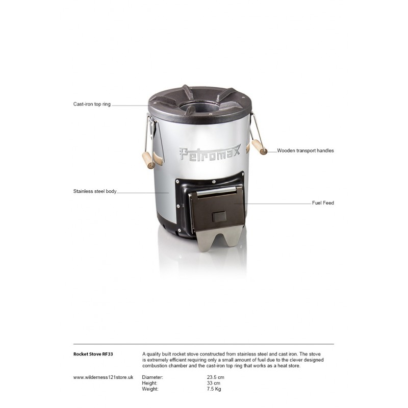 Petromax Rocket Stove RF33 Fact Sheet