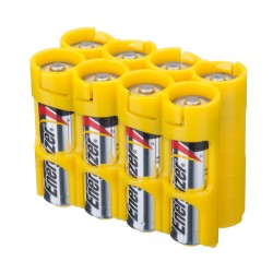 Powerpax Storacell 8AA Battery Caddy in Yellow