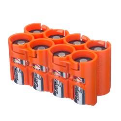Powerpax Storacell Slimline 8 CR123 Battery Caddy Orange