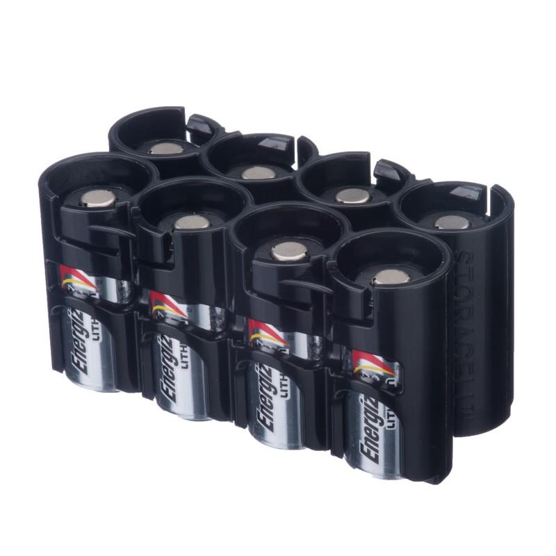 Powerpax Storacell Slimline 8 CR123 Battery Caddy Black