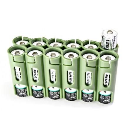 Powerpax Storacell 12AA Battery Caddy Green