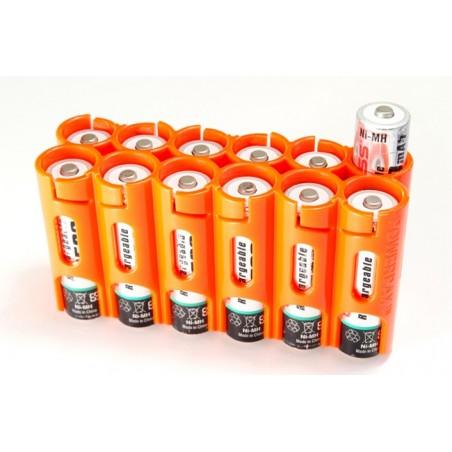 Powerpax Storacell 12AA Battery Caddy Orange