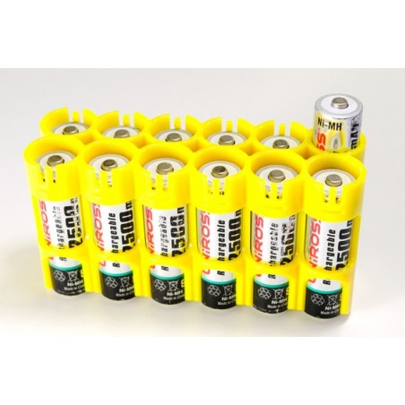 Powerpax Storacell 12AA Battery Caddy Yellow