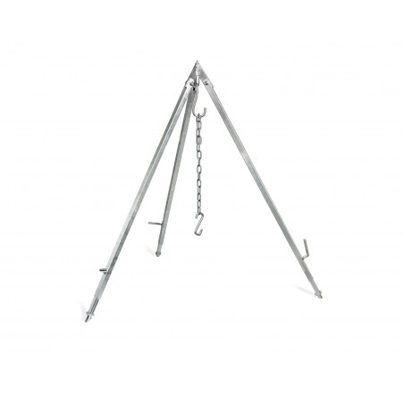 Petromax Cooking Tripod comes supplied with strong hanging chain and hook. These will not deform under normal use.